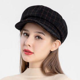 【ブラックF】レディース 帽子ハットキャップグラフチェックキャスケット | 秋冬トレンドのチェック柄のキャスケット♪