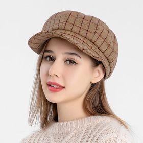 【ブラウンF】レディース 帽子ハットキャップグラフチェックキャスケット | 秋冬トレンドのチェック柄のキャスケット♪