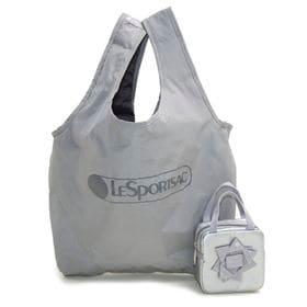 [LeSportsac]トートバッグ BOW BOX BAG AND TOTE グレー×シルバー | A4サイズも入る大きめサイズのエコバッグ!BOXポーチ付き♪