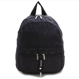 [LeSportsac]リュック TRAVEL PKABLE BACKPACK ブラック | 小さく折り畳んで持ち運べるので、急に荷物が増えたときも安心♪