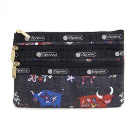 [LeSportsac]ポーチ 3-ZIP COSMETIC ブラック系 | 三段階に分かれたポケットですっきり整理整頓!旅行時のお財布代わりにも◎