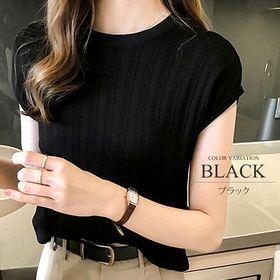 【ブラックF】ランダムリブミドル丈無地Tシャツ