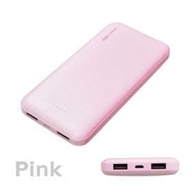 【ピンク】 モバイルバッテリー 2ポート 10000mAh ...