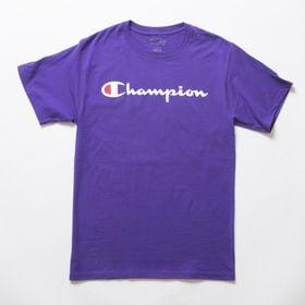 Lサイズ [Champion] M CLASSIC GRAPHIC TEE パープル | ユニセックスでお使いいただけるベーシックな一枚♪