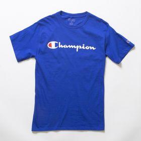 Mサイズ [Champion] M CLASSIC GRAPHIC TEE ブルー | ユニセックスでお使いいただけるベーシックな一枚♪