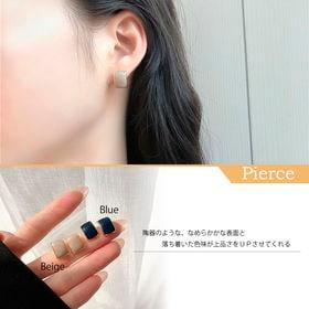 【ブルーF】ピアス かわいい 陶器 艶 シック 8008