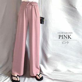【ピンクM】プリーツリラックスワイドパンツ