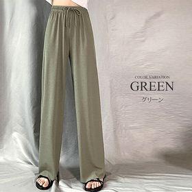 【グリーンM】プリーツリラックスワイドパンツ