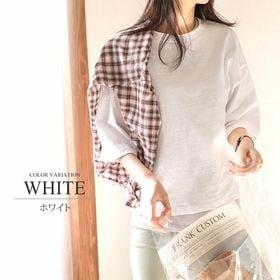 【ホワイトXL】5分丈トップス