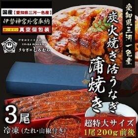 【BK-3】超特大 うなぎ 3尾入り (特製タレ・山椒付き)