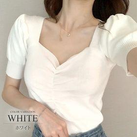 【ホワイトF】ショート丈ニットカットソー