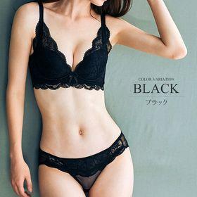 【ブラック85AB】レースノンワイヤーブラジャー&ショーツセ...
