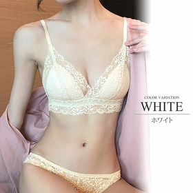 【ホワイト80A】フルレースノンワイヤーブラジャー&ショーツ...