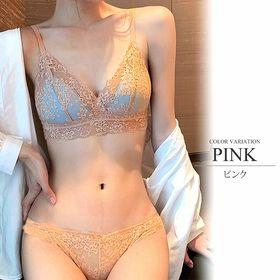 【ピンク70A】フルレースノンワイヤーブラジャー&ショーツセ...