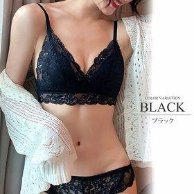 【ブラック80A】フルレースノンワイヤーブラジャー&ショーツ...