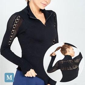 【ブラックM】長袖デザイントップス | とても動きやすいハイネックのデザイントップスです。