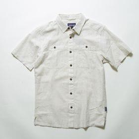 Lサイズ[patagonia]シャツ M'S BACK STEP SHIRT ナチュラル | コットンとヘンプの混紡素材の涼し気なルックスは汗ばむ時期にぴったり!