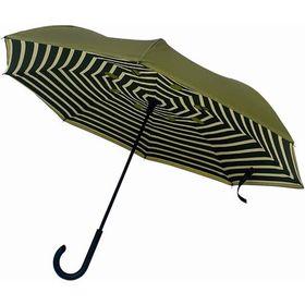 【ストライプ×グリーン】逆さに開く2重傘