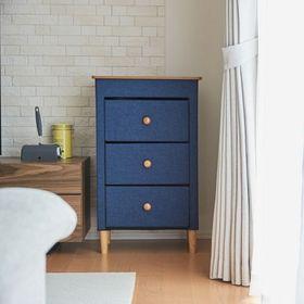 【3段・ブルー】折りたためるファブリックチェスト(木天板)