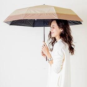 【ピンクベージュ】完全遮光 晴雨兼用  折りたたみ傘 mak...