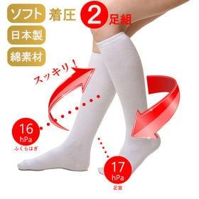 【2足組】日本製1日中履ける着圧ソックス綿混素材ホワイト