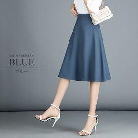 【ブルーXL】ひざ丈フレアスカート