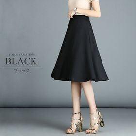 【ブラックL】ひざ丈フレアスカート