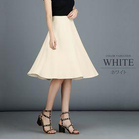 【ホワイトL】ひざ丈フレアスカート
