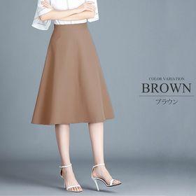 【ブラウンL】ひざ丈フレアスカート