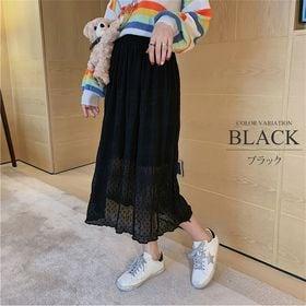 【ブラックF】柔らかロングスカート