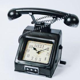 【ブラック】ヴィンテージモチーフクロック telephone