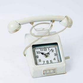 【ホワイト】ヴィンテージモチーフクロック telephone
