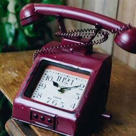 【レッド】ヴィンテージモチーフクロック telephone