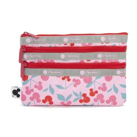 [LeSportsac×MICKEY&FRIENDS]ポーチ 3-ZIP COSMETIC ピンク | ミッキーと素敵な仲間たちが織り成す「Mickey&Friendsコレクション」!