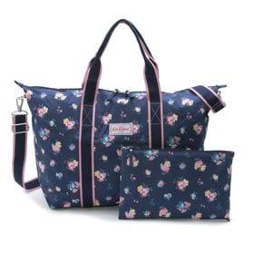 [CathKidston]ボストンバッグ FOLDAWAY OVERNIGHT BAG ネイビー系 | 旅行やジムバッグとして◎コンパクトに折りたたんで持ち運べるポケッタブル仕様!
