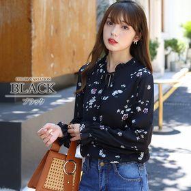 【ブラックM】花柄ネックリボンブラウス