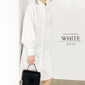 【ホワイトXL】バルーンスリーブシャツワンピース