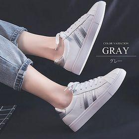 【グレー38(23.5cm)】2ラインスニーカー
