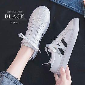 【ブラック37(23cm)】2ラインスニーカー