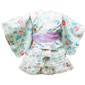 【F-朝顔ミント-100】キッズ浴衣ドレス シフォン帯付3点セット