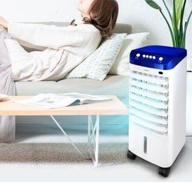 [ブルー] 冷風扇 (オープン式上部水タンク/保冷剤2個付)