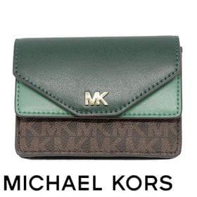 Michael Kors マイケルコース カードケース グリーン | 「MK」のゴールドロゴが高級感を漂わせます!