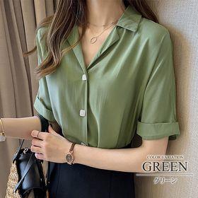 【グリーンM】ロールアップスリーブシャツ