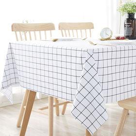 [ホワイト×格子柄] テーブルクロス (約140×180cm...