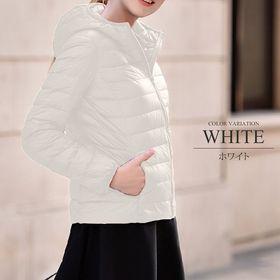 【ホワイトL】中綿ジャケット