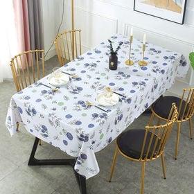 [ホワイト×植物柄] テーブルクロス (約140×180cm...
