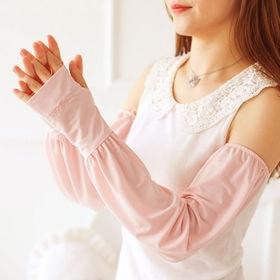 【ライトピンク/F】ロゴ刺繍 サムホール付アームカバー 83...