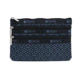 [LeSportsac]ポーチ 3-ZIP COSMETIC ネイビー系 | 三段階に分かれたポケットですっきり整理整頓!旅行時のお財布代わりにも◎