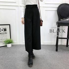 【ブラックL】ストレートワイドパンツ