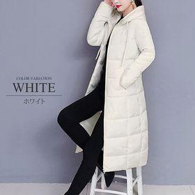 【ホワイトL】中綿ロングコート